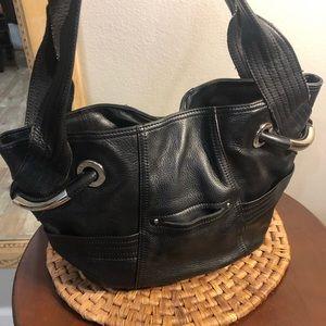 B Makowsky Animal Print Interior Leather Handbag.